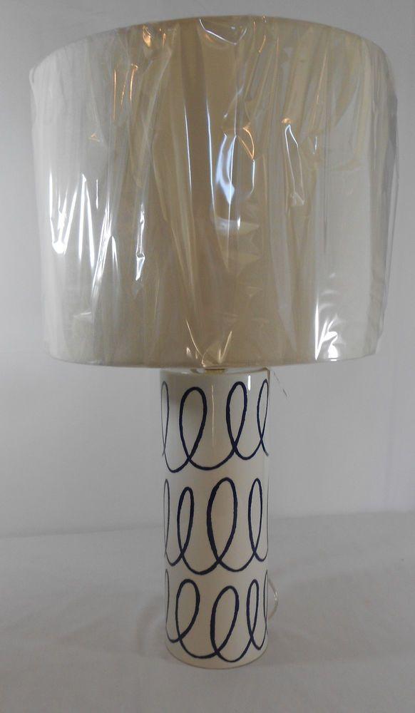 Kate Spade Home Decoration Charlotte Street Cylinder Table Lamp Navy White Swirl KateSpade ArtDeco