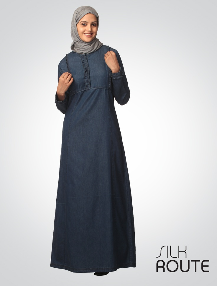 FINE DENIM    This fine Denim Jilbab has a soft clean silhouette with fun ruffled details on neck, upper body panels and cuffs that adds a young and spirited style to this Versastyle Jilbab. A comfortable long neck opening makes this Jilbab easy to wear. Our fine denim range really does fit in well with all occasions so make it part of your wardrobe today.