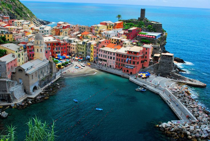 The Cinque Terre is part of the coast in the Liguria region of Italy. The terraces built on the rugged landscape are a popular tourist attraction.