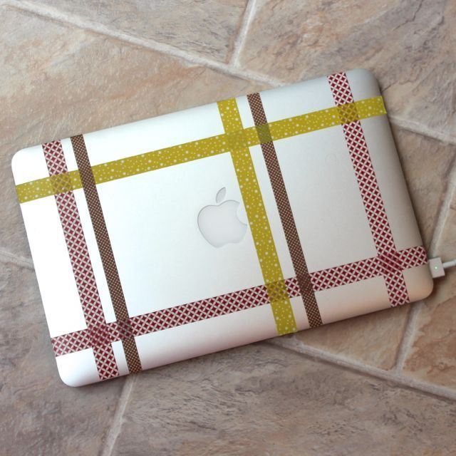 washi tape laptop lid