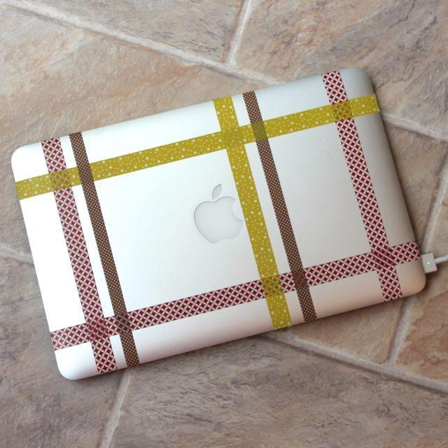 washi tape laptop lid