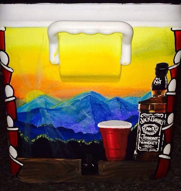 Mountain Weekend & Jack Daniels painted fraternity cooler - https://www.etsy.com/shop/aLittleExtraSparkle?ref=hdr_shop_menu