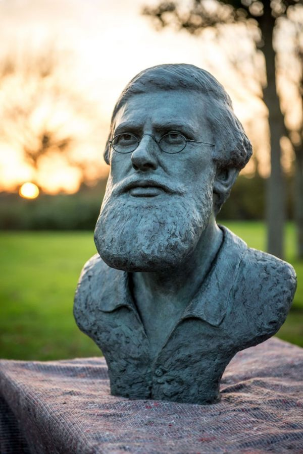 #Bronze #sculpture by #sculptor Anthony Smith titled: 'Alfred Russel Wallace Bust (Lifesize Head statues)'. #AnthonySmith