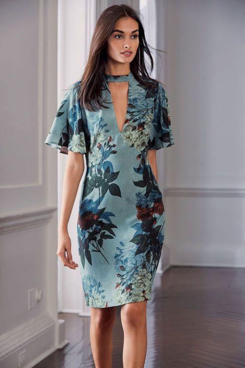 Next Printed Choker Dress