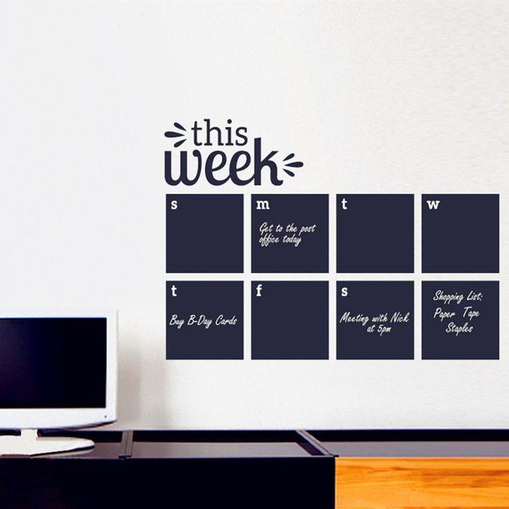 2016 - Weekly Wall Planner - Calendar Wall Decal - Chalkboard Decals - Blackboard Wall Sticker Office , Study ect Wall Art Decor