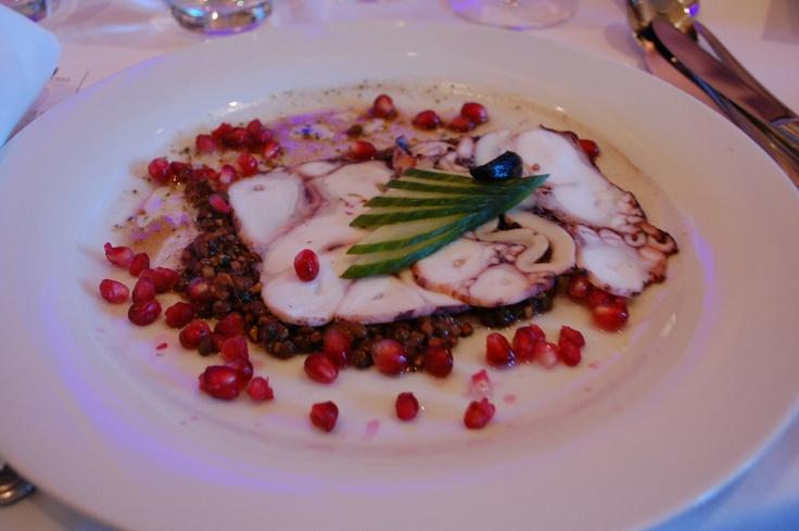 Pressed Octopus Ceviche, Lentil, Tomato. Black Garlic, Perilla Herbed olive Oil, Pomegranate Vinaigrette