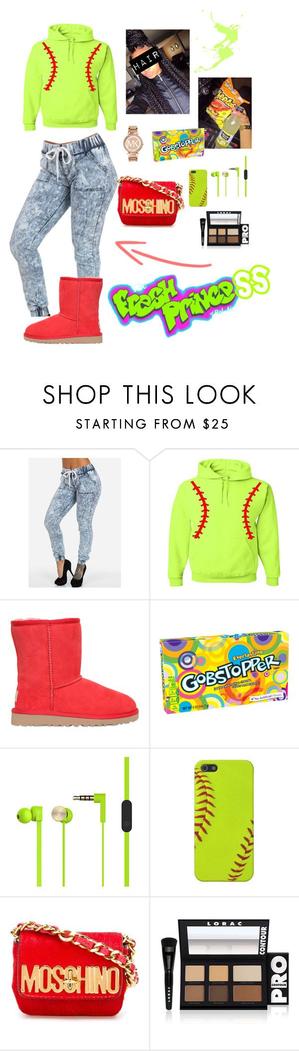 """Softball"" by onenuni on Polyvore featuring UGG Australia, Poetic Justice, Junk Food Clothing, Moschino, LORAC and Michael Kors"