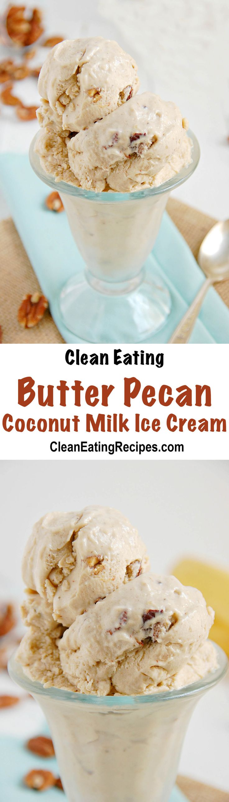 All you need is a blender and frozen bananas, coconut milk, butter, pecans. I can't believe how good this coconut milk ice cream tastes!