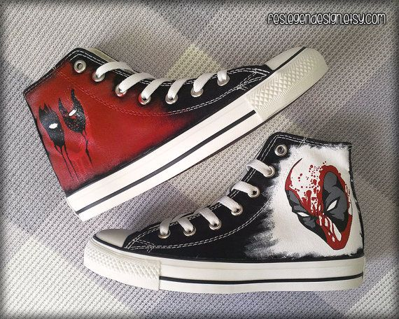 Deadpool Custom Converse / Painted Shoes by FeslegenDesign on Etsy