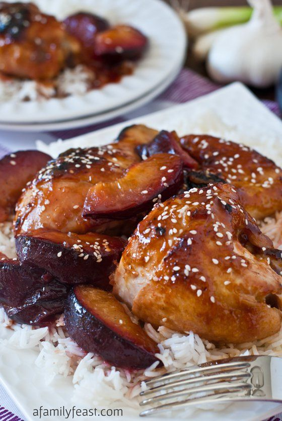 Chicken with Sweet and Sour Plum Sauce - a super delicious recipe with an unbelievable sauce made with lemonade concentrate and Asian plum sauce. This is fantastic!