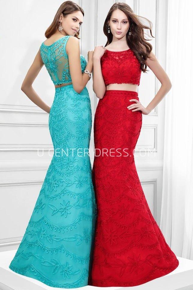 $135.69-Elegant Mermaid Appliqued Sleeveless Scoop Neck Lace Sheath Two Pieces Evening Gown. http://www.ucenterdress.com/mermaid-appliqued-sleeveless-scoop-neck-lace-prom-dress-pMK_300310.html.  Shop for affordable evening gowns, prom dresses, white dresses, party dresses for women, little black dresses, long dresses, casual dresses, designer dresses, occasion dresses, formal gowns, cocktail dresses . We have great 2016 Evening Gowns on sale now. #evening #gowns