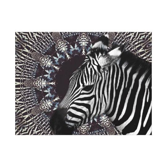 Zebra Art Canvas Print by www.zazzle.com/htgraphicdesigner* #zazzle #gift #giftidea #zebra #mandala #kaleidoscope #abstract #art #canvas