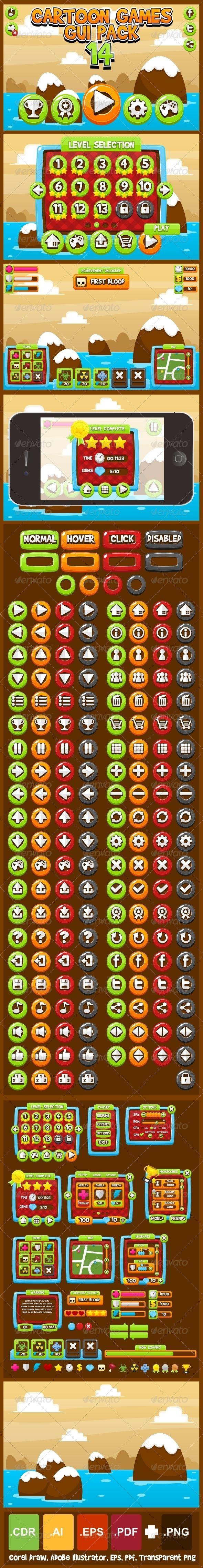 Cartoon Games GUI Pack 14 - Web Elements Vectors