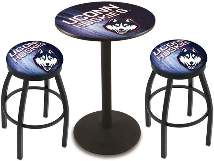 UConn Huskies D2 Black Pub Table Set. Available in two table widths.  Visit SportsFansPlus.com for Details.