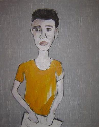 #hallowereld Schooljongen met boek - Afke Spies Schaafsma - Schilderij