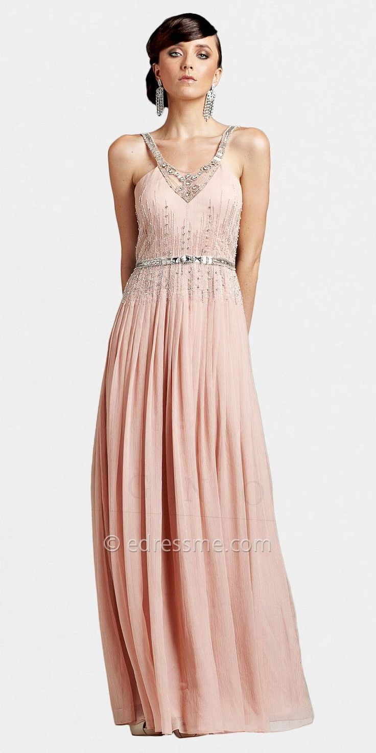 delicate chiffon beaded vintage inspired prom dresses by