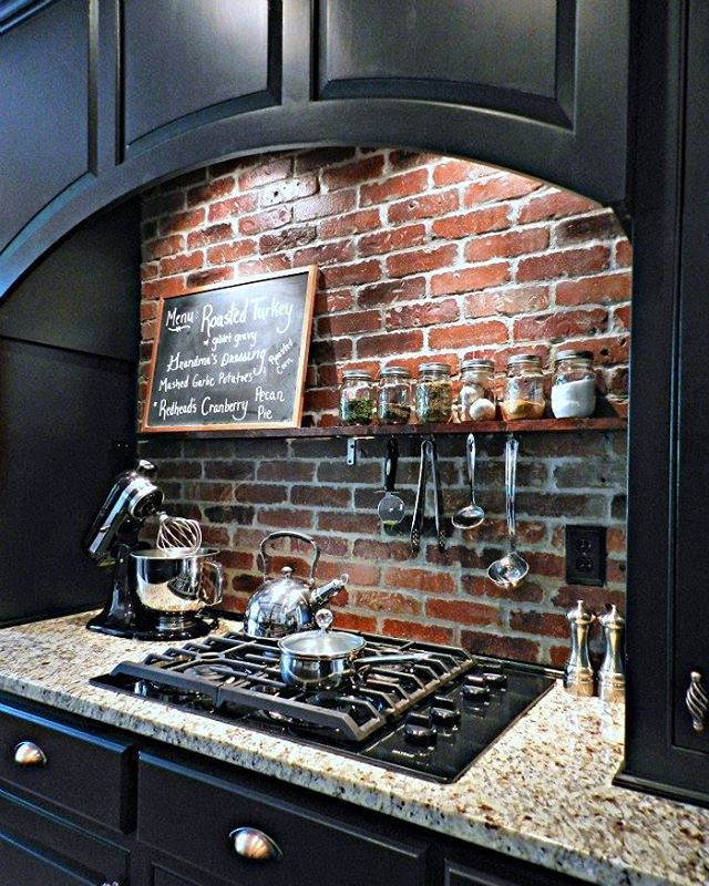 "134 Likes, 6 Comments - Redheadcandecorate.com (@redheadcandecorate) on Instagram: ""We loved the brick we added to our back splash so much, that we are using it to cover our front…"""