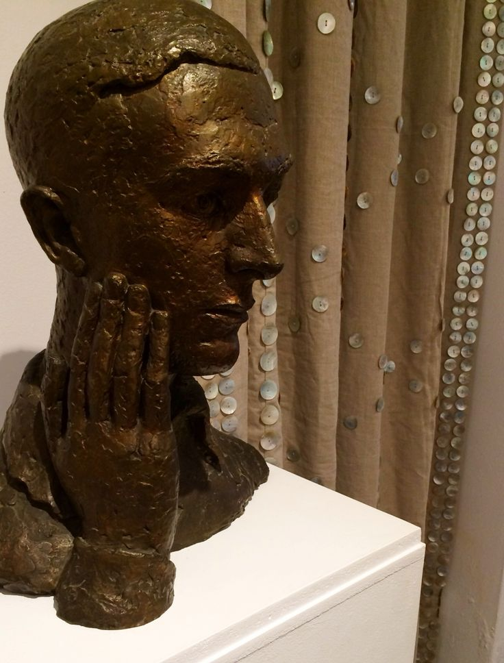 Bust of Cecil by Frank Dobson against the recreated Pearl buttoned curtains by Beaudesert Ltd #CBatHome