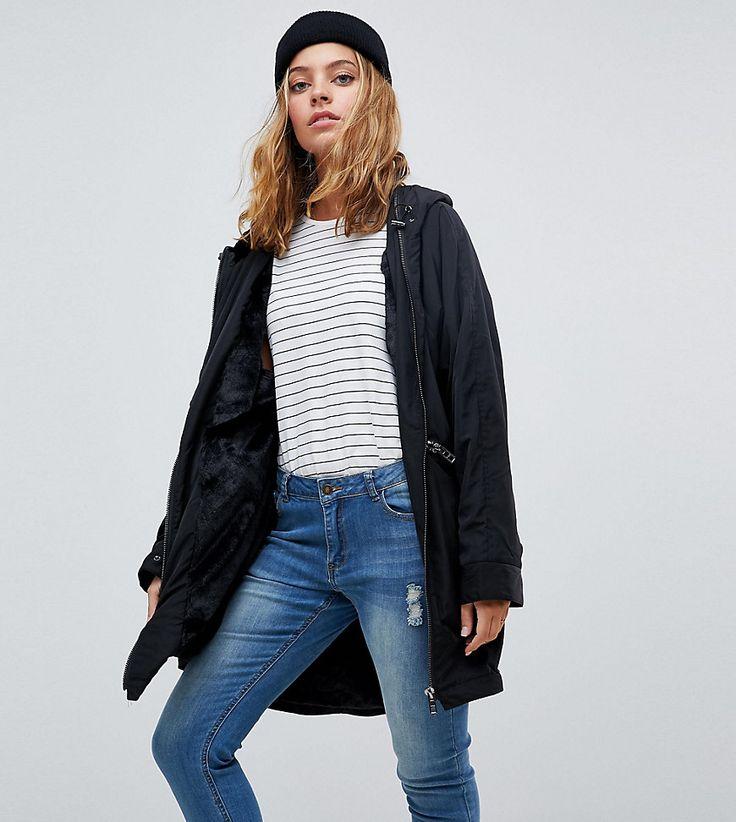 ASOS PETITE Midi Rain Jacket with Faux Fur Liner - Black