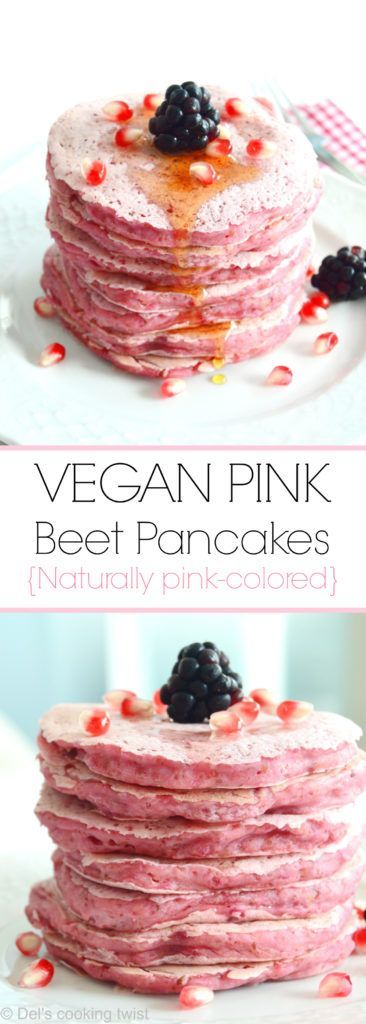 Beet juice makes these fluffy pancakes bright pink and perfect for creating dreamy, Insta-worthy, stacks drizzled with maple syrup and topped with fresh berries.