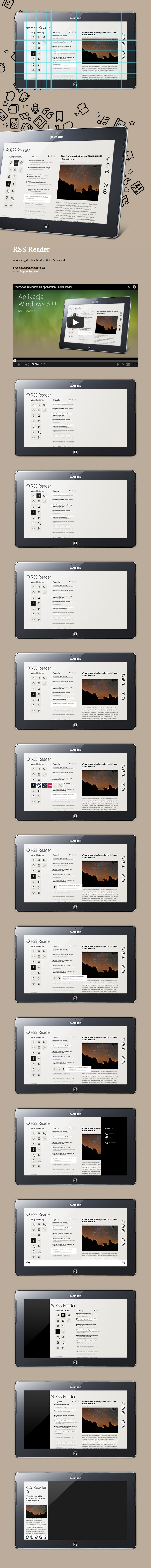 "RSS Reeder, Windows 8 UI mobile application by Michal Galubinski, via Behance *** Aplikacja pod Windows 8 Modern UI, ""RSS Reader"" – mobile application design."