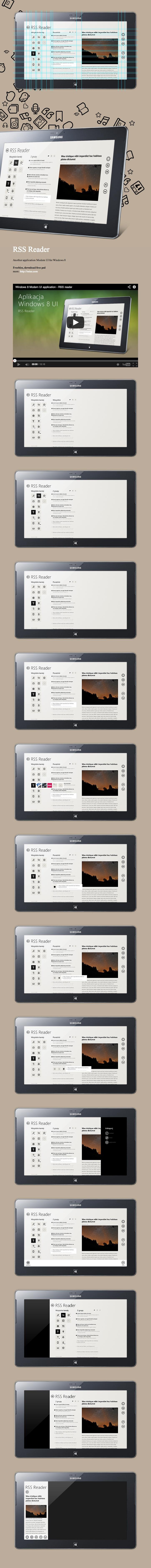 "RSS Reeder, Windows 8 UI mobile application by Michal Galubinski, via Behance *** Aplikacja pod Windows 8 Modern UI, ""RSS Reader"" – mobile application design."