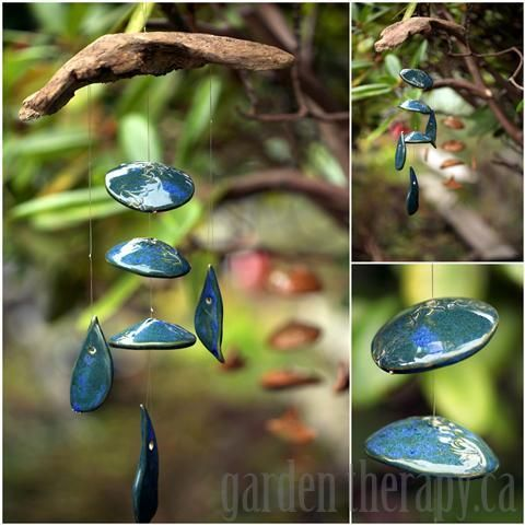 WINDCHIMES WITH CLAY PIECES  branch or driftwood  clay shapes or sea glass or broken pottery  fishing line  beads  drill  Collect clay pendants or pieces, or make your own with a modeling clay that can be baked at home in the oven. I made these shapes at a pottery studio,