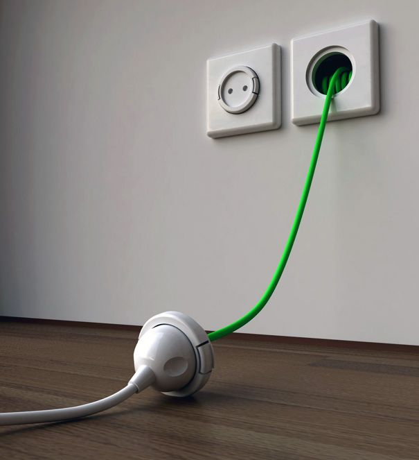 Built-in Wall Extension Cord : This just blew my mind.