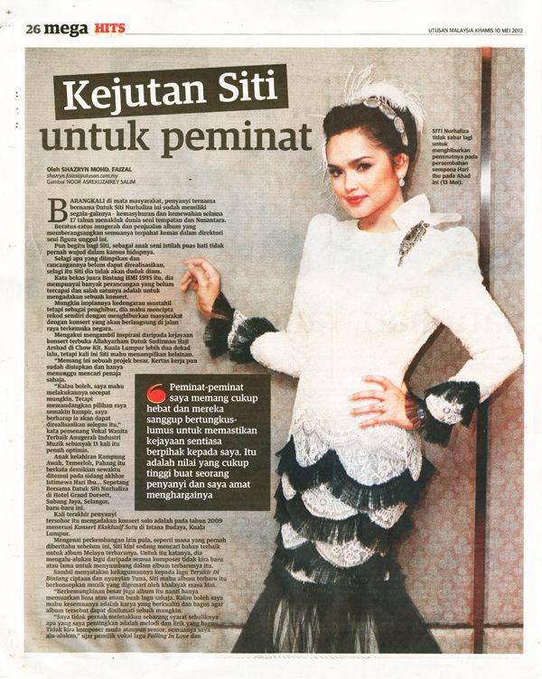 Datuk Siti Nurhaliza spotted in Sereni & Shentel New Money in Utusan Malaysia 10 May 2012.