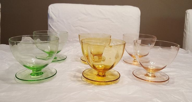 Vintage Harlequin Crystal Dessert Bowls Sundae Glass Dishes with spoon rest x 6  in Pottery, Porcelain & Glass, Glass, Crystal/ Cut Glass   eBay!
