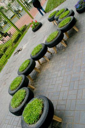 Invasion Verde - Lima, Peru  recycled tires planted with grass to make stools.  Read entire article here: www.architizer.com