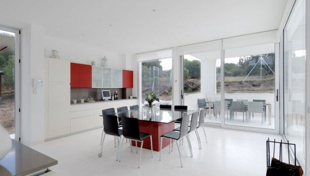 Dining Room White Laminate Flooring Glass Dining Table With White Cabinets With Drawers And Red Base Black Dining Armless Chairs Large Modern Dining Room Ideas Glass Bay Window Sliding Glass Doors Outstanding Glass And Wooden Dining Table Centerpiece Options For More Elegant Dinning Room