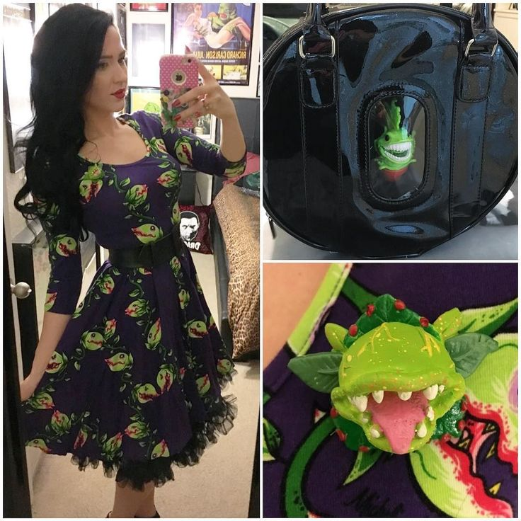 OOTD! Wore my #pinupgirlclothing Venus fly trap dress with my brooch made by @dulcecalaveritas and my Venus fly trap purse! My purse has a front zipper in it so I can put any small action figure/toy inside the window area and so I put my chewlian monster high doll pet inside!!  #horrorghoul #littleshopofhorrors #venusflytrap #rockabilly #psychobilly #pinup #retro by pretty_hate_machine