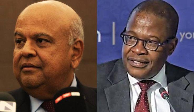 Treasury vs Eskom: A government at war with itself.   Photo: Finance Minister Pravin Gordhan (Greg Nicolson), Eskom CEO Brian Molefe (eNCA frame grab)