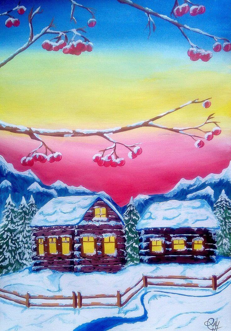 картинки зимние пейзажи рисовать тургенева