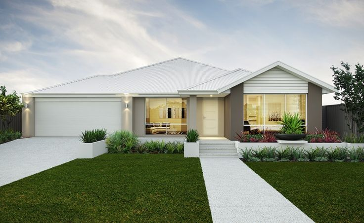 Striking elevation with rendered facade, gable planking and Colorbond roof