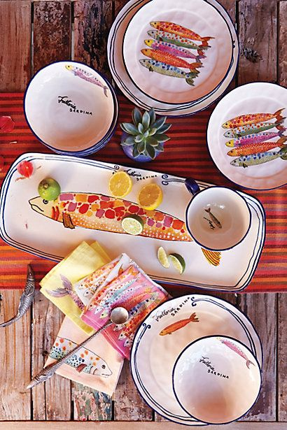 Sardina Dinnerware #anthropologie Gotta love the colors and the whimsy.   we're looking for that too.....too many inns are stuffy.