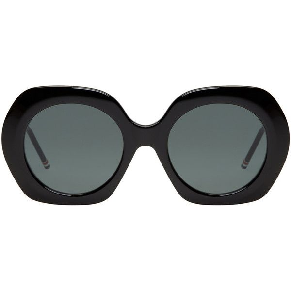Thom Browne Black Oversized Sunglasses (1,970 SAR) ❤ liked on Polyvore featuring accessories, eyewear, sunglasses, black, round glasses, thom browne glasses, thom browne sunglasses, colorful glasses and oversized round glasses