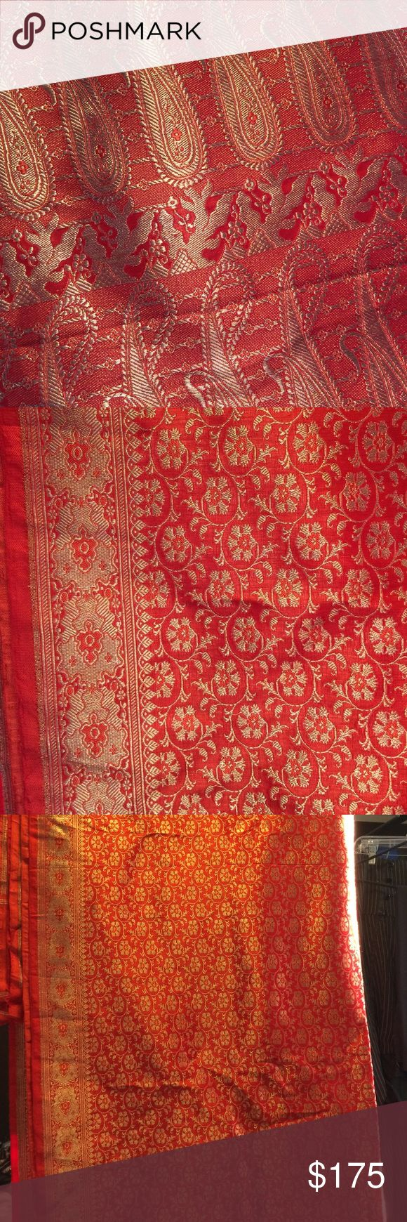Vintage red and gold 100% silk sari This is an uncut 100% silk sari purchased in 1992. The possibilities are endless. Will consider best reasonable offer. no name Other