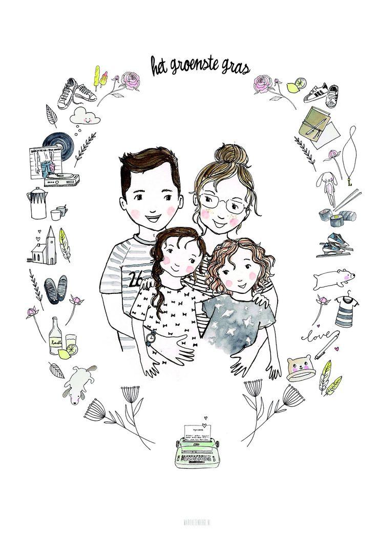 Illustratie ons gezin door Marieke ten Berge