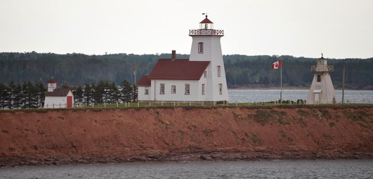 The Woods Island Lighthouse, as we approach on the ferry.  PEI