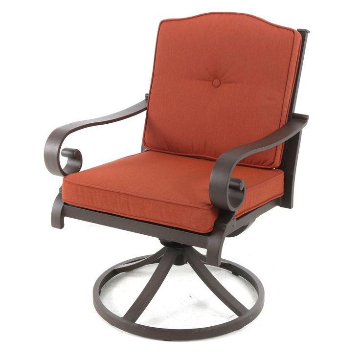 Royal Garden Rivera Aluminum Outdoor Swivel Dining Chair - Set of 2 - Brick Brick - A185200-02-FCPB