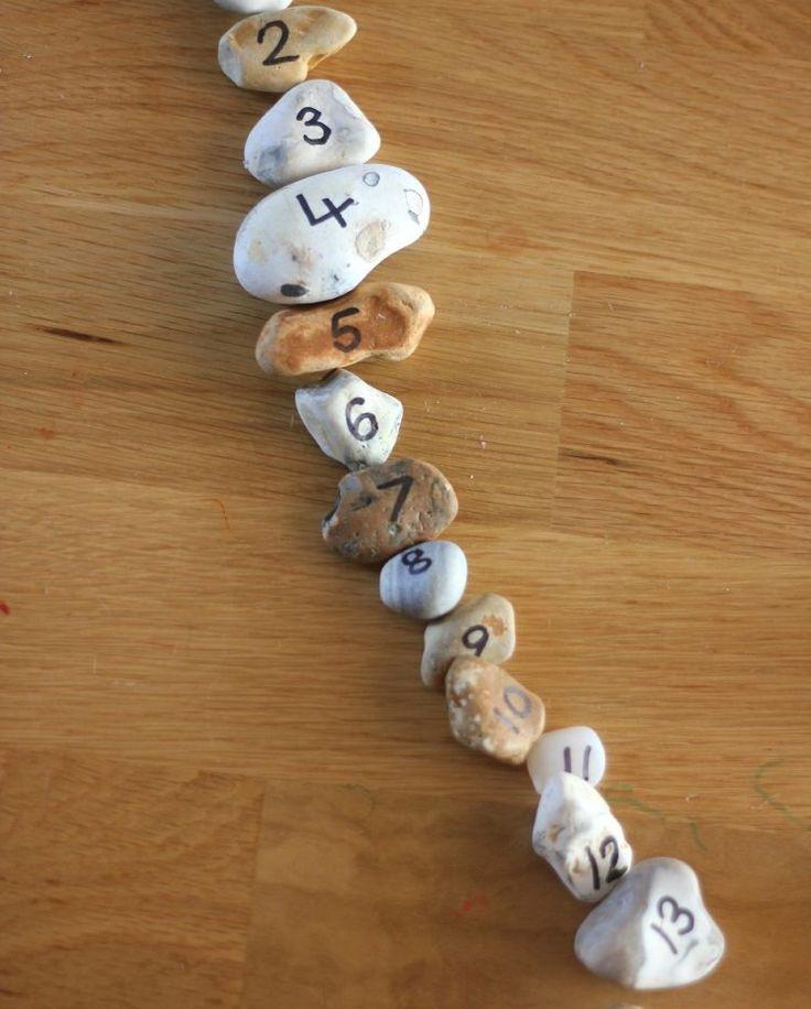 Nummernspiel mit Steine basteln