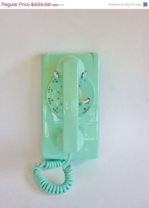 Retro Wall Phone in Turquoise Vintage Rotary Wall Phone