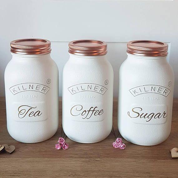 Set Of 3 Tea Coffee Sugar Kilner Jars
