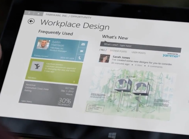 Dynamics CRM Windows 8 app running on Microsoft Surface