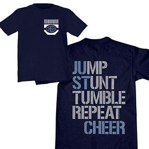 Jump, Stunt, Tumble T-Shirt by Cheerleading Company
