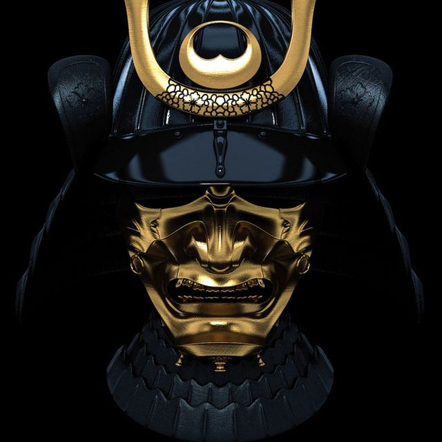 Black and gold samurai helmet with mask / Złoto-czarny samurajski hełm z maską