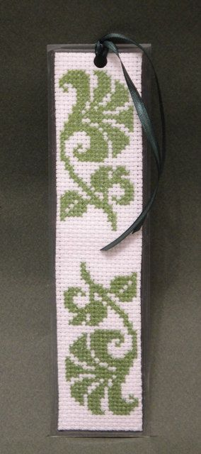 Cross Stitch Pattern, Green Motif Bookmark, by Ogusstudio on Etsy