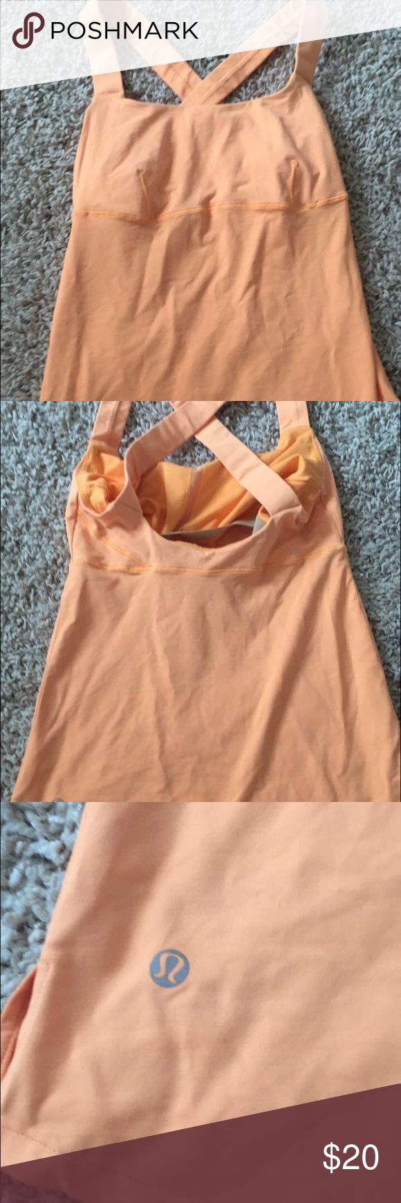 Lululemon cross back yoga running tank top 4 Lululemin coral running yoga workout top in great condition. No holes no stains size 4 lululemon athletica Tops Tank Tops